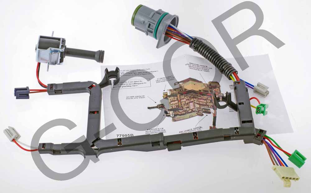 77995B_1  R W Transmission Wire Harness on po751 ford, front pump seal installer, vent location, manual tcc lock up diagram, solenoid application chart,